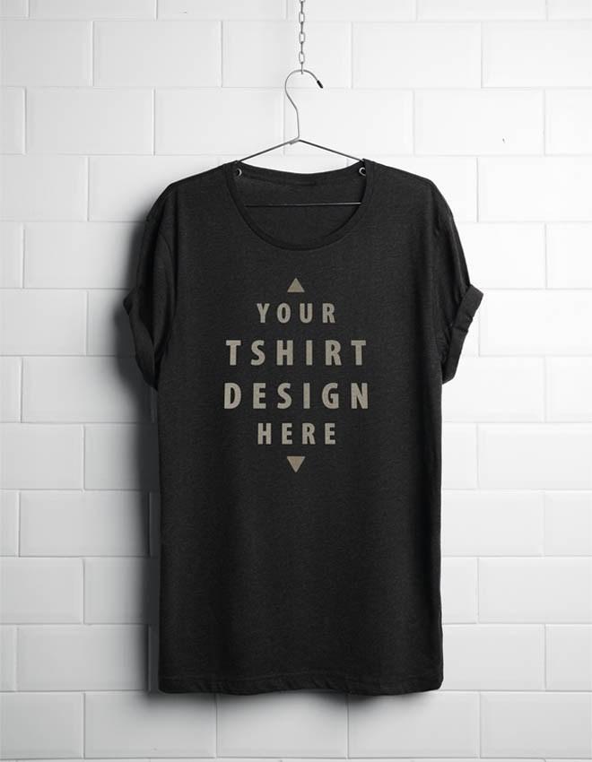 Black Hanging T-Shirt Mockup PSD, Smashmockup