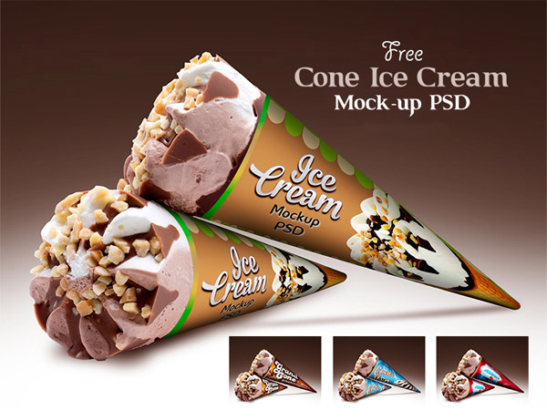 Cone Ice Cream Packaging Mockup, Smashmockup