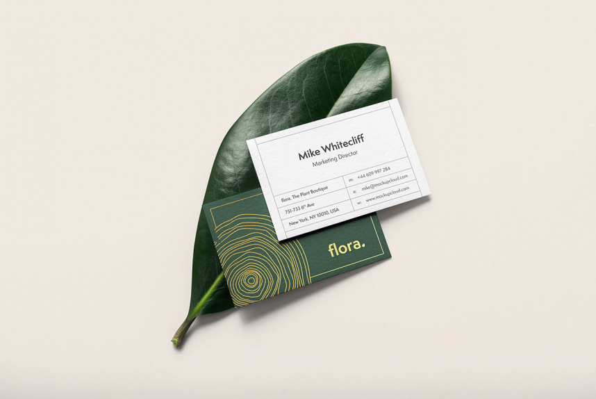 Elegant Business Card Mockup With Leaves Free Download