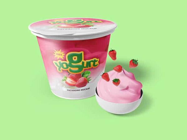 Yogurt Packaging Mockups, Smashmockup