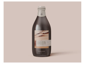 Beer Bottle Mockup PSD Template, Smashmockup