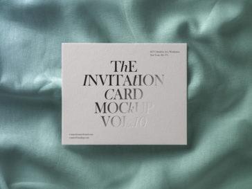 Square Invitation Card Mockup in Fabric Texture, Smashmockup