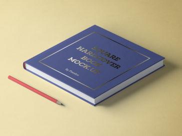 Square Hardcover Book Mockup, Smashmockup