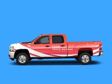 Crew Pickup Truck Mockup, Smashmockup