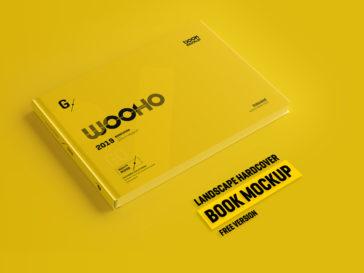 Landscape Hardcover Book Mockup PSD, Smashmockup