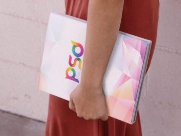 Girl Holding Book Mockup PSD, Smashmockup