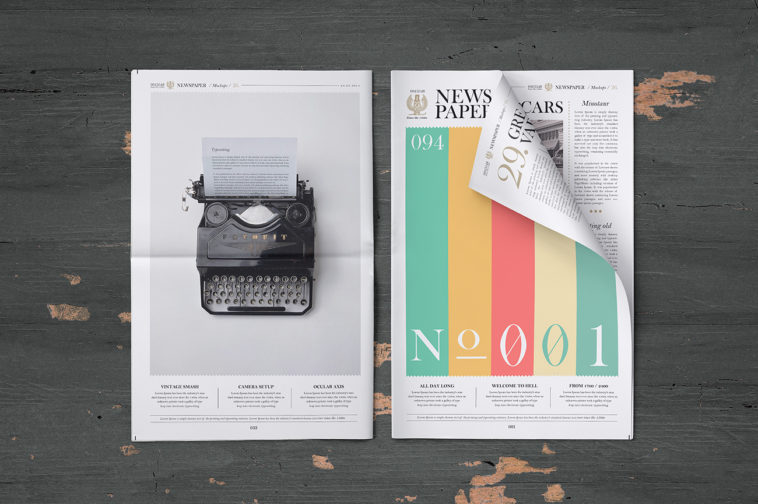 Clean Photorealistic Newspaper Mockup, Smashmockup