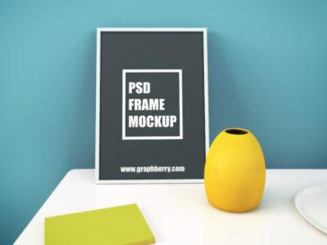 Picture Frame Mockup on Table, Smashmockup