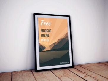 Poster Frame Mockup on Wooden Floor, Smashmockup