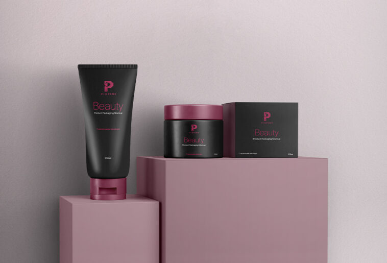 Cosmetic Packaging Mockup Set Free Download