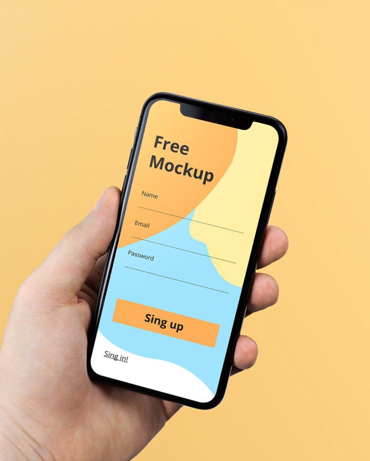 iPhone X in Hand Mockup, Smashmockup