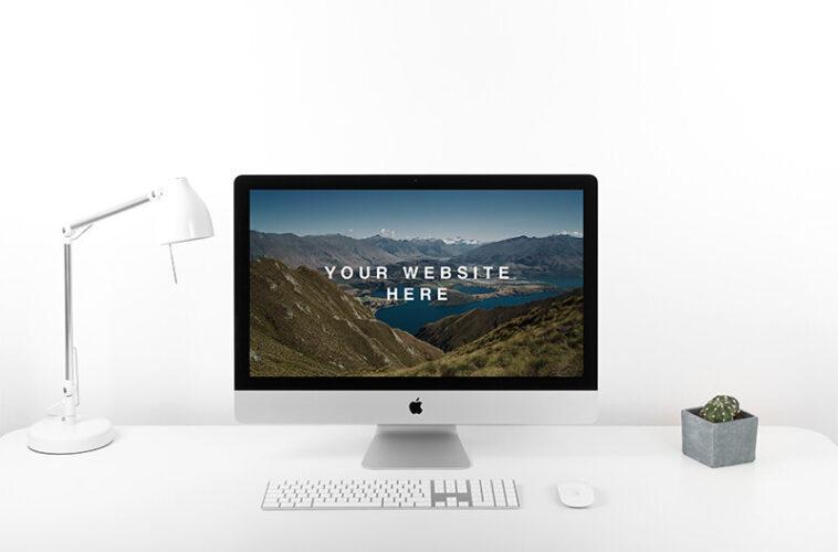 iMac PSD Mockup on Desk, Smashmockup