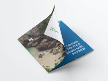 Unfolding Tri-Fold Brochure Mockup, Smashmockup