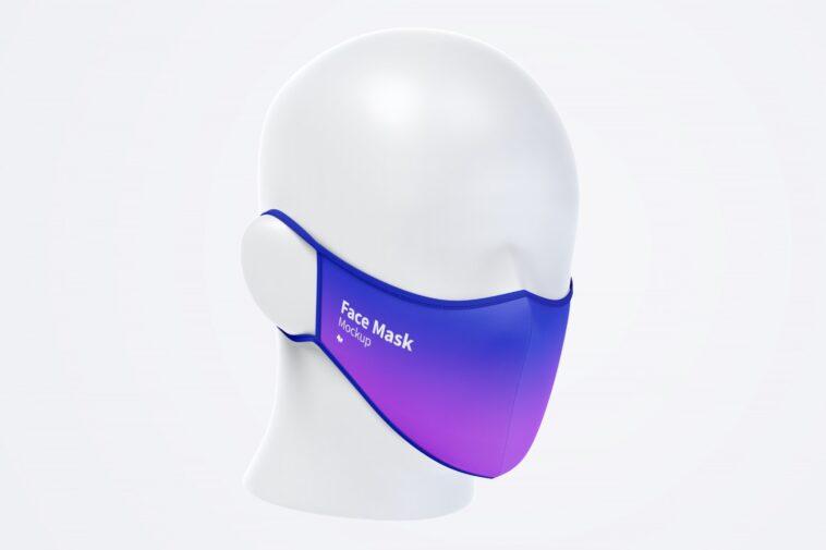 Face Mask Mockup in Half-Side View, Smashmockup
