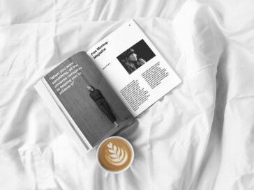 Open Magazine Mockup with Coffee Cup, Smashmockup