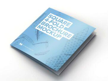 Square 4-Fold Brochure Mockup, Smashmockup