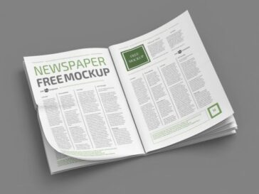 Open Newspaper Mockup Template, Smashmockup