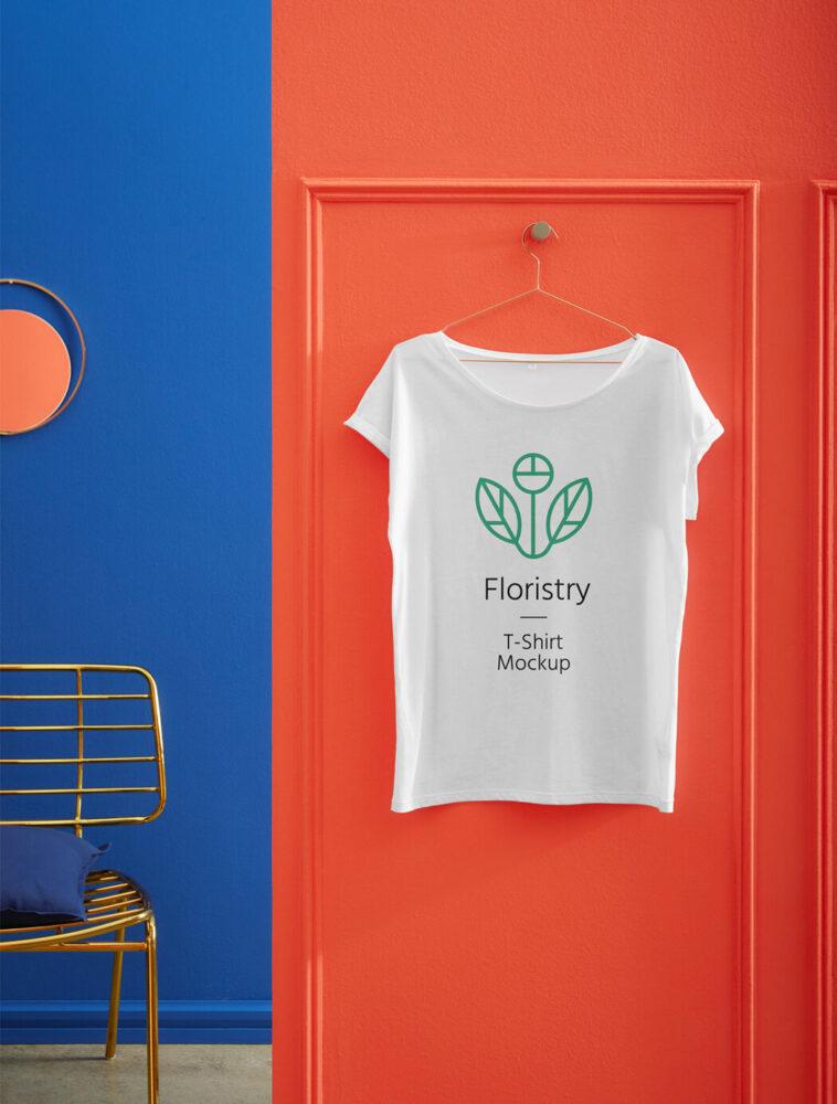 Hanging T-Shirt Mockup on The Door, Smashmockup