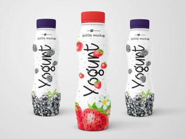 PSD Yogurt Bottle Mockups, Smashmockup