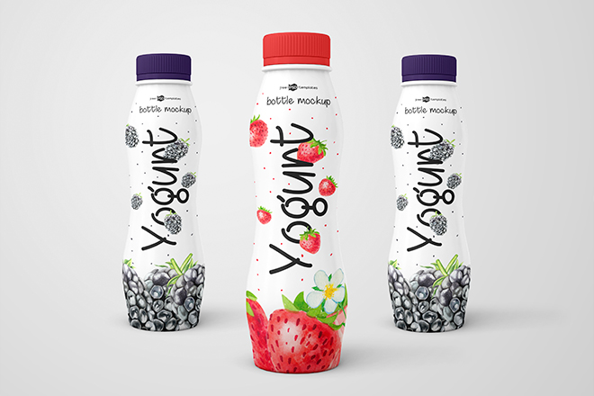 PSD Yogurt Bottle Mockups, Smashmockup