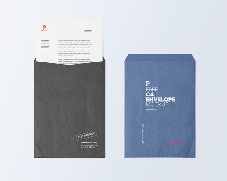 C4 Paper Size Envelope Mockup, Smashmockup