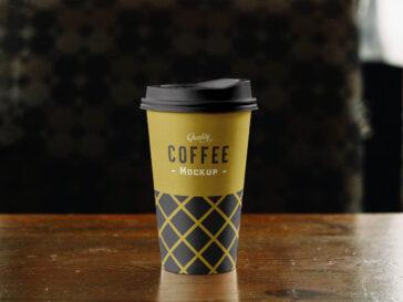 Paper Coffee Cup Mockup on Table, Smashmockup